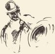 Jazz poster. Man playing saxophone drawn sketch.