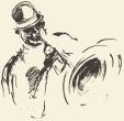 Jazz poster. Man playing saxophone drawn sketch.